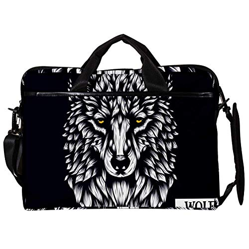 TIZORAX Laptop Messenger Shoulder Bags Patterned of Wolf Computer Sleeve Notebook Carrying Case 15-15.4 inch Handbag