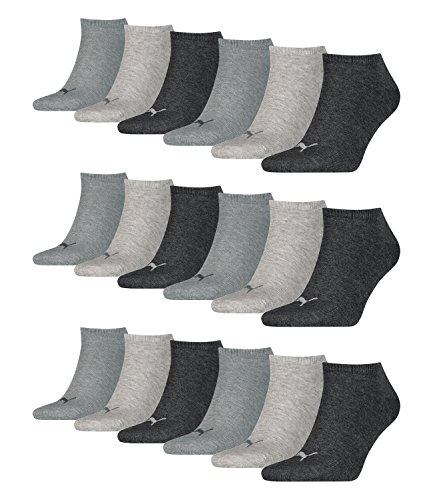 Preisvergleich Produktbild PUMA 18 Paar Sneaker Invisible Socken Gr. 35-49 Unisex für Damen Herren Füßlinge,  Farbe:800 - anthraci / l mel grey / m me