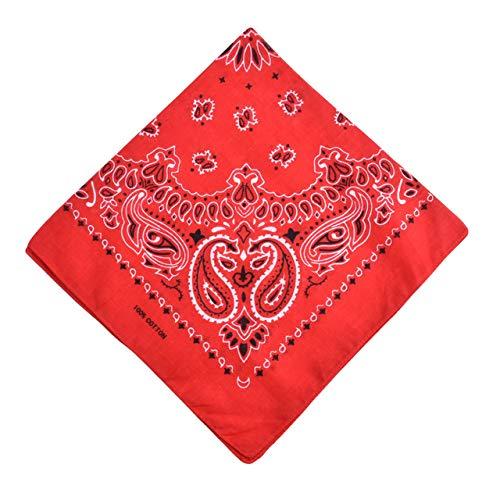 Yener katoenen bandana sjaal vierkante hoofddoek dames heren hiphop fiets bandana motorfiets bandana hoofddeksels sjaals hijab, rood, one size