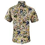 Camisa Hawaiana Hombre,Hawaiano Casual Abotonado Manga Corta Creativa Flor Abstracta Impresa De Secado Rápido Transpirable Estilo Vintage Aloha Camisa para Hombre Mujer Vacaciones En La Playa, M