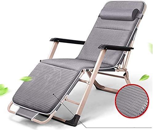 TUHFG Liegestuhl Deckchair Zero Gravity Chair Garden Einstellbar Chaise Recliner, Sonnenliege mit Kissen Übergröße Null Gravity Patio Faltbare Stuhl Für Heavy Duty Menschen Sonnenliege (Color : Grey)