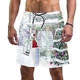 Troncos de natación para hombre cortos de tela de secado rápido con forro de malla de moda para árbol de Navidad invierno nieve, Árbol de Navidad Invierno Nieve 1, XX-Large