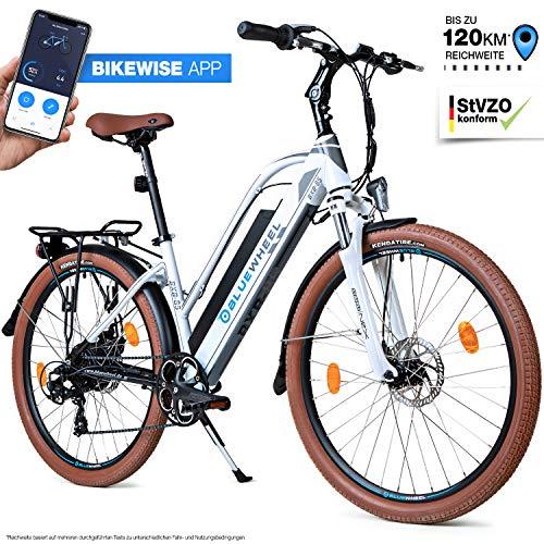 Bluewheel 26 Zoll innovatives Damen E-Bike 14,4/16Ah -Deutsche Qualitätsmarke- EU-konformes Pedelec mit App, 250W Motor, Lithium-Ionen-Akku Elektro-Fahrrad BXB85 mit Shimano 21 Gang-Schaltung