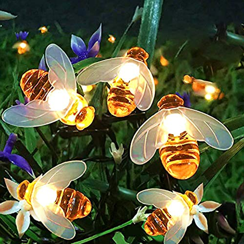 FANSIR Solar String Lights, 8 Modes 30 LED Honey Bee Fairy Lights Solar Powered Waterproof Outdoor String Lights for Garden Patio Yard Summer Party Wedding Indoor Bedroom Decor (Warm White)