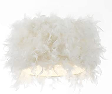"Contemporary and Unique White Real Feather Spider Lamp Shade - 12"" Diameter 
