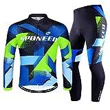 sponeed Bicycling Jerseys and Pants Set Riding Bike Jacket Cycling Full Zipper Padded Leggings Cycle Tops US L Multi