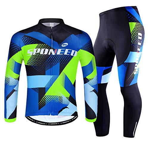 sponeed Bike Clothes for Men Cycle Jersey and Pants Set Bicycle Jacket Winter Cycling Gear Spring US S Multi