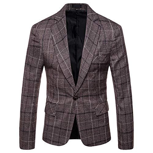 Allthemen Mens Casual Tweed Check Blazer Slim Fit Pak Jas Zakelijke Plaid Blazer Jas Gecontroleerde Diner Suits Jassen
