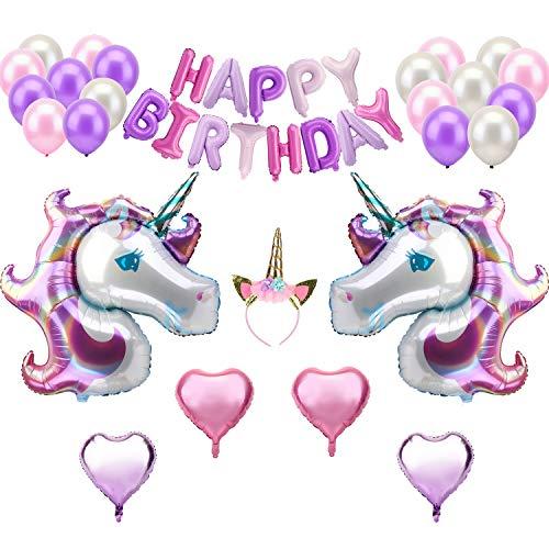 KATELUO Decoración Cumpleaños Unicornio, Decoraciones Cumpleaños, Pancarta de Feliz Cumpleaños, Enorme Globo de Unicornio,Diademas de Unicornio,Globo del Arco Iris,Globo en Forma de Corazón (Type A)