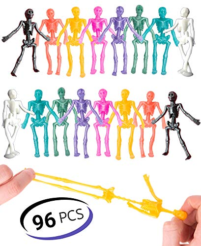 UpBrands 96 Party Favors for Kids Stretchy Skeleton Bulk Set, 8 Colors, Kit for Birthday, Halloween, Goodie Bags, Easter Egg Basket, Pinata Filler, Small Toys Classroom Prizes, Student Rewards
