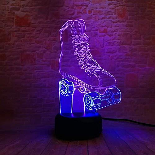 YYSDH Rollschuhe 3D Lampe Nachttischlampe, Nachtlicht Fürs Kinderzimmer, Led Lampe Fürs Wohnzimmer