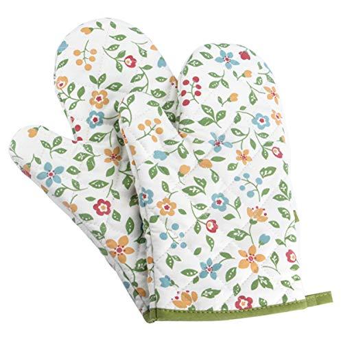 Panegy 1 Paar Hitzebeständig Ofenhandschuhe Küche Backofen Handschuhe Verdickte Hitzeresistente Topflappen Backhandschuhe aus Baumwolle und Polyester Blumen