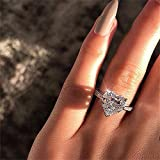 925 Sterling Silver Round Perfect Cut 3ct Single Stone Shiny Heart Rings CZ Cubic Zirconia Promise Love Halo Engagement Wedding Band Eternity Ring for Women (US Code 7)