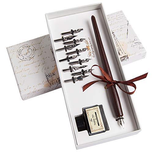 Hethrone Kalligraphie Stift Set Schreibfeder Mit Tintenfass Holz-Füllfederhalter Schreibmappe mit 11 Federn und Schwarzer Tinte