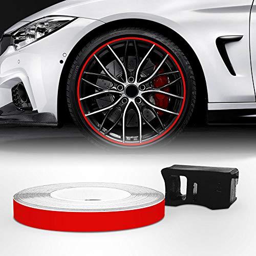4R Quattroerre.it Bandes Wheel Trim Racing pour les Jantes des Voitures, Rouge, 5 mm x 6 mt