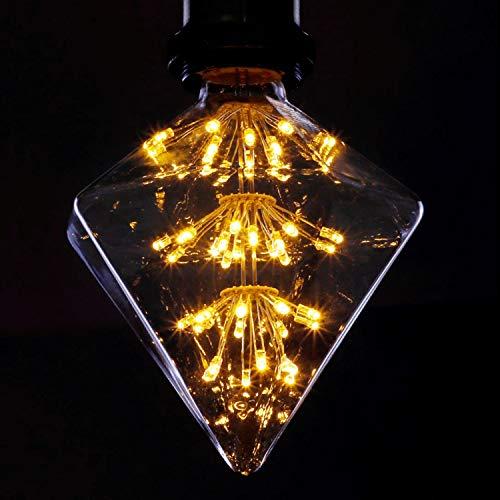 LED Vintage Glühbirne E27 Fireworks Glühlampe 3W LED Dekorative Glühlampe Diamantförmig Warmweiß 2200K Antike Lampen für Weihnachten Party Urlaub Hochzeit Bar Restaurant Café - Nicht Dimmbar
