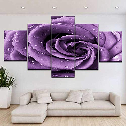 dxycfa Fünf Stücke Wandbilder Lila Rose Modern Bilder Fertig Schöner Kunstdruck Auf Leinwand Wandkunst Für Hauptdekorationen 200Cmx100Cm