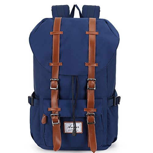 Casual Rucksack, Fresion Schultasche mit 2 Seitentaschen Laptop Tasche Reise Rucksäcke Damen Herren Trekkingrucksäcke mit Großer Kapazität für 17 Zoll Laptop (Nylon Blau)