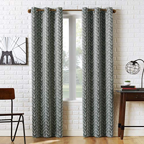 "Sun Zero Kenwood Chevron Blackout Grommet Curtain Panel, 40"" x 95"", Gray"
