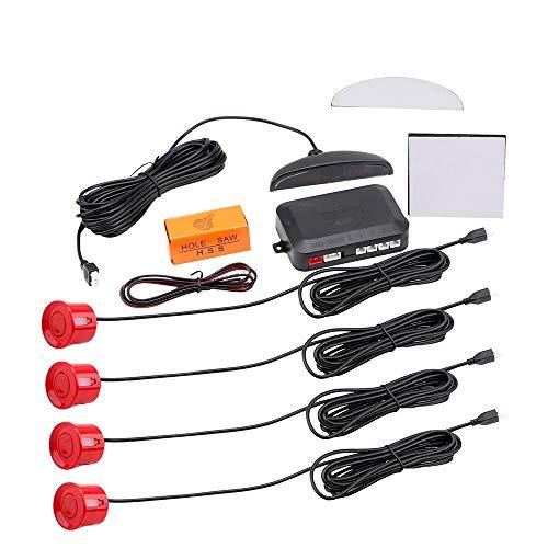 Kits de sistema de detector de monitor de respaldo inverso con 4 sensores de aparcamiento radar coche Auto Parktronic LED Sensor de aparcamiento (rojo)