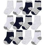 La Volupte Kid Cotton Athletic Sock Boys Girls Baby Toddler Crew Socks 12-Pack