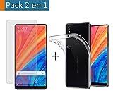 Tumundosmartphone Pack 2 en 1 Funda Gel Transparente + Protector Cristal Templado para XIAOMI MI Mix...