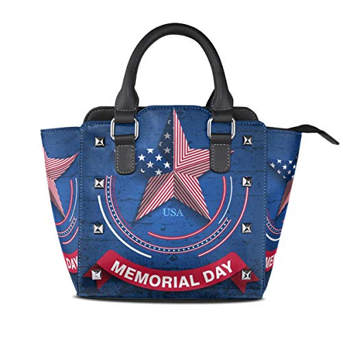 Bolsos mujer Star Flag Memorial Day Tote PU Leather