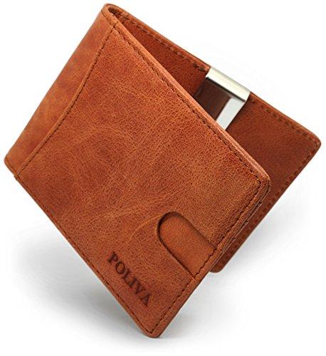 Premium Leder-Kreditkartenetui für Herren - POLIVA Mini Geldbörse mit Kartenhalter & Slim Clip - Wallet mit RFID Schutz - braun & schwarz - 6 Fächer