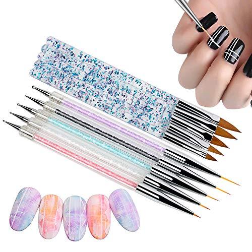 VINFUTUR 10-teilig Nagel Pinsel Set Nagelstifte Nail Art Design Punktierung Werkzeuge Detaillierung Stifte Dotting Tool Acryl Bürste Nagel Pen für DIY Nagel Kunst