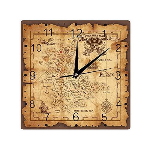 Super detallado mapa del tesoro Grungy rústico piratas oro secreto mar historia tema, color cuadrado morden reloj Slient