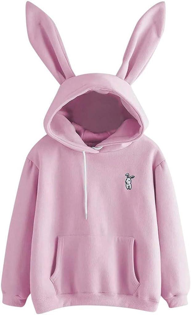 Girls' Hoodie, Misaky Pullover Sweatshirt Casual Long Sleeve Rabbit Ears Pocket Hooded Blouse Jumper Tops