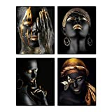 """Modern Art African American Wall Art Painting Black Woman Fashion Pop Gold Earrings Black Set of 4 (8""""X10"""") Girl Room Poster Art Painting Bedroom or Bathroom Dressing Room for Home Decor No Frame"""