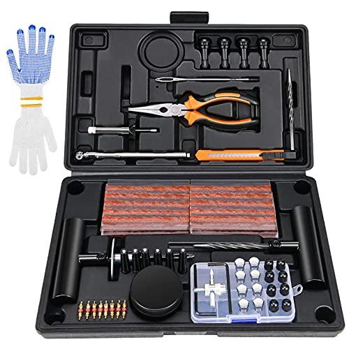 Kohree 100pcs Kit Reparación Neumáticos Pesados Kit Antipinchazos Coche Repara Mechas Pinchazos Kit Moto Juego de reparación de neumáticos para Moto, ATV, Jeep, Camión, Tractor, Autos, Bicicletas