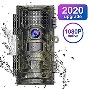 "WiMiUS Wildlife Trail Camera, 1080P 20MP 0.2s Trigger Speed Motion Activated Infrared Night Vision 70ft / 20m IP54 Waterproof with 2.4"" LCD Outdoor Nature Game Hunting Camera No Glow for Garden Home"