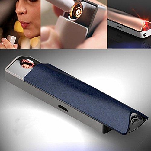 Feuerzeug elektronisch e-flame und Alkohol Test Feuerzeug winddicht USB Akku mit Alkoholtester Blau