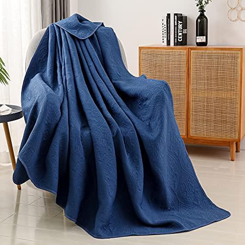 SE SOFTEXLY Quilt Set Queen Size,Lightweight Microfiber Coverlet Floral Quilt Pattern Bedspread Set,3 Piece Include 2 Pillow Hülles(Dark Blue,Full/Queen 94