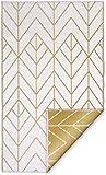 FAB HAB Sydney - Gold & Cream Alfombra/tapete para Interiores y Exteriores (150 cm x 240 cm)