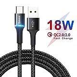 Baseus Cable USB Tipo C, Cargador Quick Charge 3.0 Tipo c Nylon Trenzado Cable Compatible con Samsung Galaxy S10 S9 S8 A3 A5 2017 Note 10 9 8, Huawei P10 P9, Google Pixel, Sony Xperia XZ (2M)