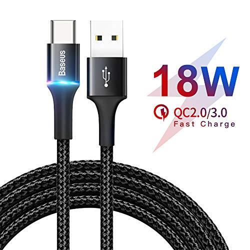 USB C Kabel, Baseus Typ C Ladekabel 2M 18W Schnelles Nylon und Aluminum Material für Samsung Galaxy S10 S9 S8 Plus, Note 10 9 8, Huawei, OnePlus, HTC, Nexus Lumia, Nokia Tablet und viele mehr