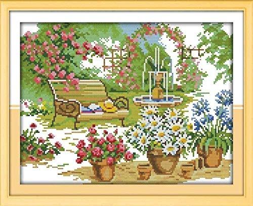 Bordado Kit de punto de cruz para adulto Preimpreso Imágenes - Flores en el jardín - 11CT DIY Art Kit de punto de cruz decoración del hogar para Principiante la Regalo 40x50CM