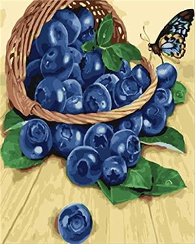 DIY Peinture à l'huile Peinture Numéro Kits Toile Acrylique Enfants adultes S art pour la maison Murale Décor Blueberry 40x50cm