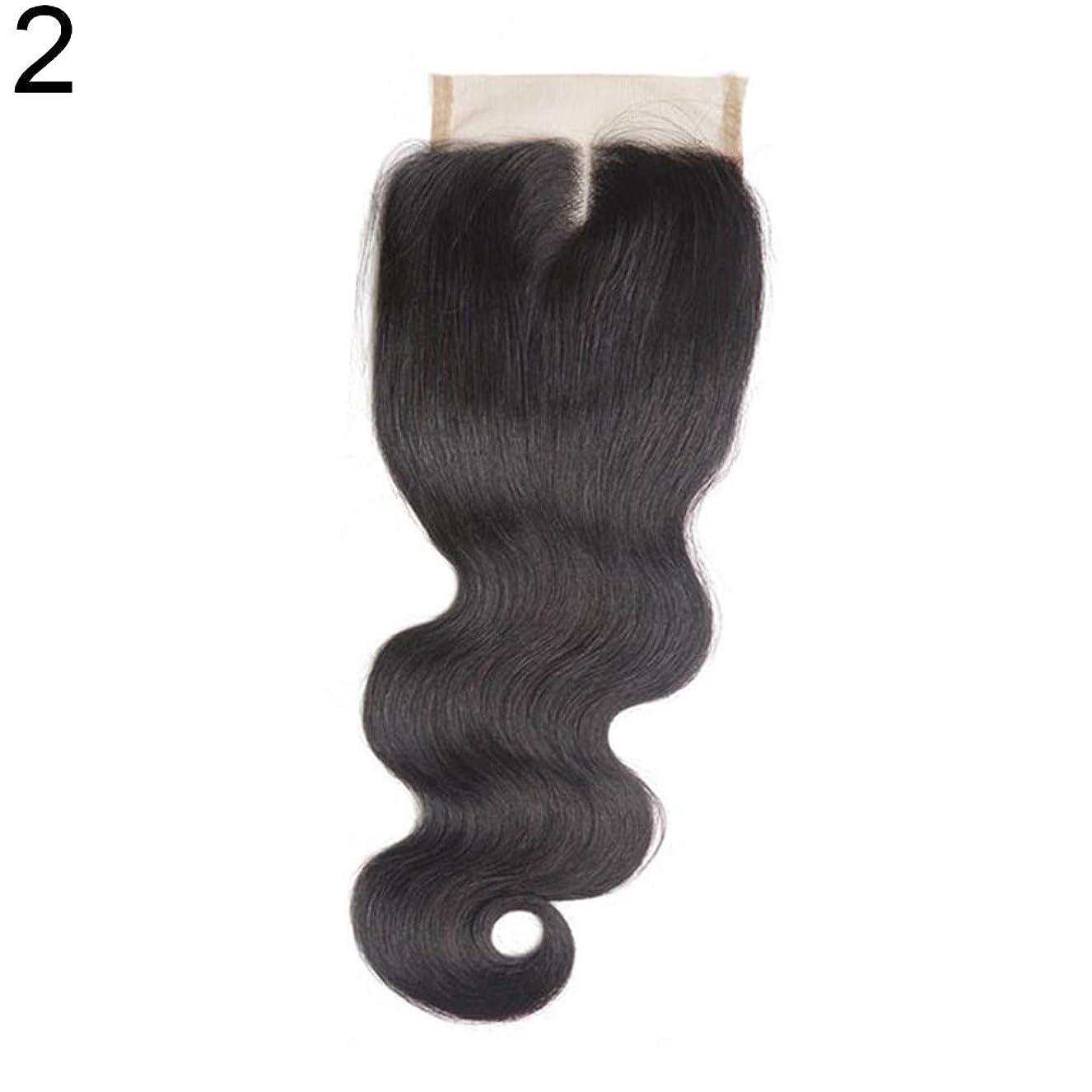 誘発する聴覚刑務所slQinjiansav女性ウィッグ修理ツールブラジルのミドル/フリー/3部人間の髪のレース閉鎖ウィッグ黒ヘアピース