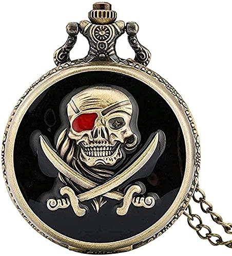 ZGYFJCH Co.,ltd Collares Collar de Moda Negro Retro Bronce Calavera Pirata Reloj de Bolsillo de Cuarzo con Collar de Cadena Colgante Hombres Mujeres como Regalo de colección