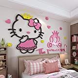 JZLMF JZLMF - Adhesivo decorativo tridimensional para pared, diseño de Hello Kitty