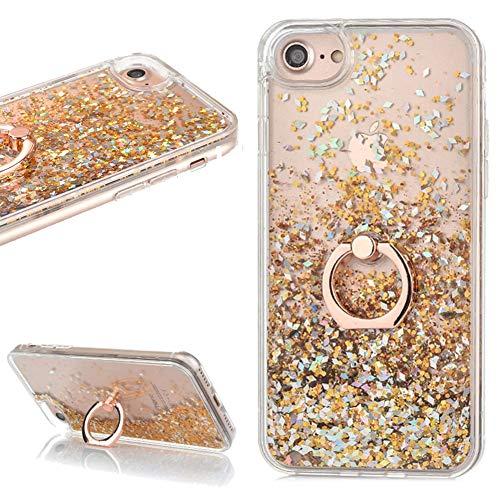 lchda Funda iPhone 78Glitter Líquido con anillo soporte purpurina líquidos Oro Rosa Agua QUICKSAND Corazón Transparente Rígida Funda Suave Silicona Bumper para iPhone 78