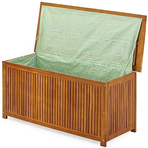 Deuba Auflagenbox 117cm Akazien Holz Innenplane vorgeölt Holztruhe Kissenbox Gartenbox Gartentruhe Truhe Kissen Box