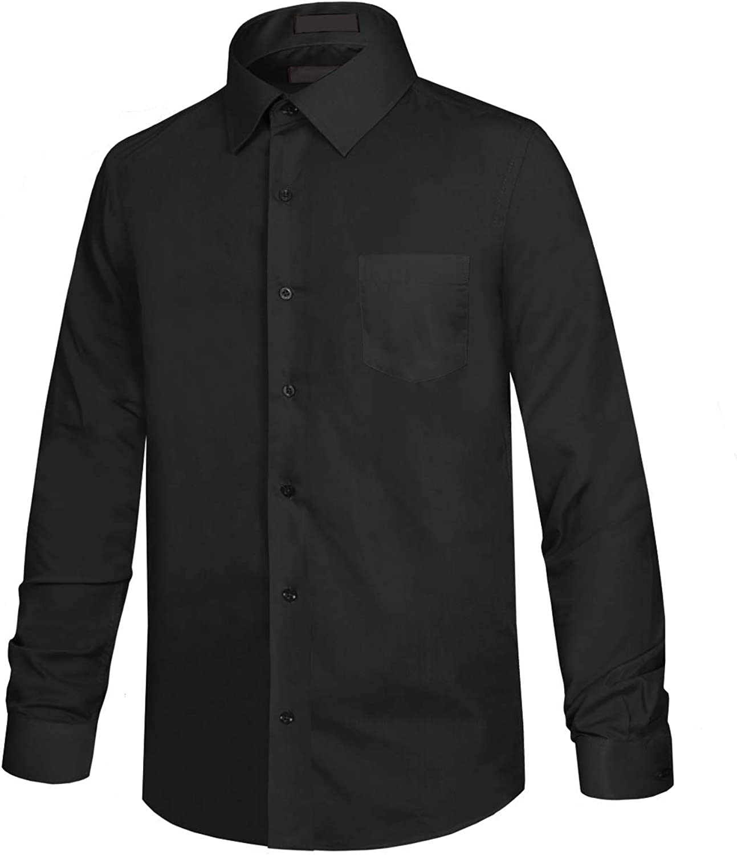 NE PEOPLE Boys' & Junior Long Sleeve Solid Button-Down Dress Shirt (XS-XL)