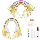 2 Juegos de Agujas Circulares Bambú, 6 Pulgadas y 31,5 Pulgadas Kits de Tejer Incluye 18 Tamaños (2-10 mm) Agujas de Ganchillo Circulares de Tubo Bambú Colorido, Herramientas Tejido para Hilados