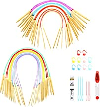36 Piece Bamboo Circular Knitting Needles Set, 6 Inch and 31.5 Inch Knitting Kits Include 18 Sizes (2-10 mm) Bamboo Tube Circular Colorful Crochet Needles, Weaving Tools Kits for Weave Yarn Projects