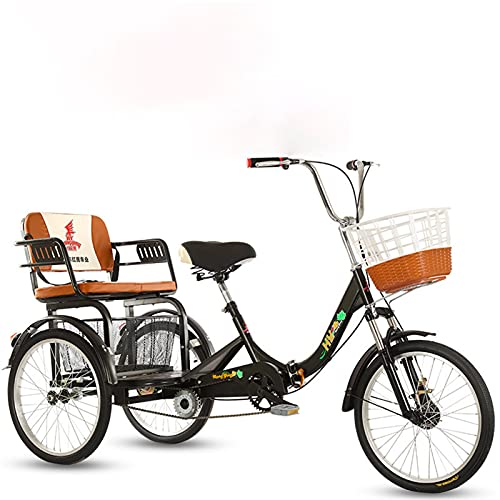 YYOBK Complete Cruiser Bikes,Adult Recumbent Bikes,Comfort Bikes,Foldable Tricycle,Trike,Old Scooter,Three-Wheeled Bicycles for Parents and Kids,20 Inch Tire Double Chain,Maximum Load 441LB
